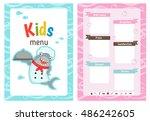 kids menu card with shark... | Shutterstock .eps vector #486242605