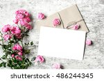 bouquet of roses with a blank... | Shutterstock . vector #486244345