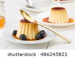 two vanilla pudding and golden... | Shutterstock . vector #486245821