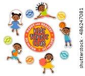 active children playing sports. ... | Shutterstock .eps vector #486247081