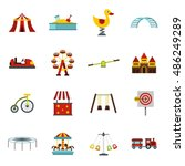 amusement park icons set in... | Shutterstock .eps vector #486249289