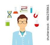 scientific laboratory worker... | Shutterstock .eps vector #486250861