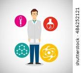 scientific laboratory worker... | Shutterstock .eps vector #486252121