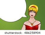 vector illustration pop art girl   Shutterstock .eps vector #486258904