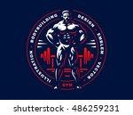 bodybuilder emblem illustration ... | Shutterstock .eps vector #486259231