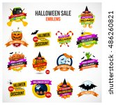 set of colorful halloween sale... | Shutterstock .eps vector #486260821
