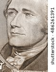 Small photo of Detail image of Alexander Hamilton on the US $10 Bill.
