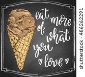 hand drawn ice cream in cone... | Shutterstock .eps vector #486262291