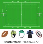 rugby field and stuff | Shutterstock .eps vector #486263377