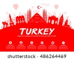 turkey  travel landmarks.... | Shutterstock .eps vector #486264469