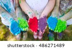 hands   palms of young people...   Shutterstock . vector #486271489