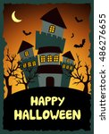 happy halloween card template.... | Shutterstock .eps vector #486276655