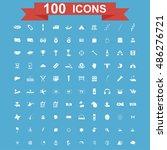 100 icon set. vector concept... | Shutterstock .eps vector #486276721