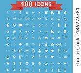 100 icon set. vector concept... | Shutterstock .eps vector #486276781