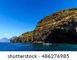 Small photo of Coast of the beautiful island of the Lipari, Aeolian Sicily