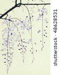 blue ink blossom on handmade... | Shutterstock . vector #48628531