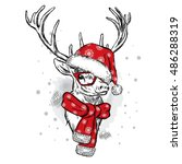 Beautiful Deer In Christmas Ha...