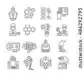 nanotechnology linear icons set ... | Shutterstock .eps vector #486292795