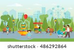 city park with people flat... | Shutterstock .eps vector #486292864