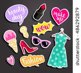 fashion elements in patch style.... | Shutterstock .eps vector #486292879