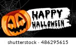 halloween pumpkin label | Shutterstock .eps vector #486295615