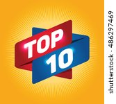 top 10 arrow tag sign icon. | Shutterstock .eps vector #486297469