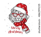 beautiful lion in a christmas... | Shutterstock .eps vector #486299155