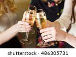 hands holding the glasses of... | Shutterstock . vector #486305731