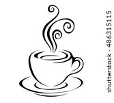 line art coffee isolated on... | Shutterstock . vector #486315115
