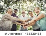 group of senior retirement... | Shutterstock . vector #486320485