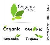 100  organic product logo set.... | Shutterstock .eps vector #486325339