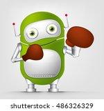 cartoon character cute robot... | Shutterstock . vector #486326329