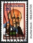 Small photo of UNITED STATES OF AMERICA - CIRCA 1992: A used postage stamp from the USA celebrating social activist W. E. B. Du Bois, circa 1992.