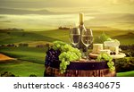 white wine with barrel on... | Shutterstock . vector #486340675