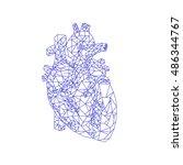 human heart. polygonal graphics....   Shutterstock .eps vector #486344767