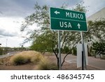 signpost at the us mexican... | Shutterstock . vector #486345745