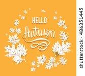 fall leaves card | Shutterstock .eps vector #486351445
