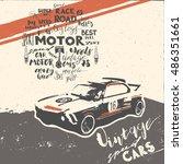 vintage sport car speed racing... | Shutterstock .eps vector #486351661