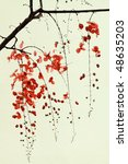 branch of red blossom on... | Shutterstock . vector #48635203