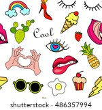 seamless pattern with fashion... | Shutterstock .eps vector #486357994