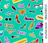 seamless pattern with fashion... | Shutterstock .eps vector #486358015