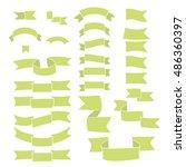 green ribbons  big set of hand... | Shutterstock . vector #486360397