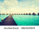 beautiful tropical maldives... | Shutterstock . vector #486365845