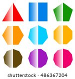 basic shapes with shine. set of ... | Shutterstock .eps vector #486367204