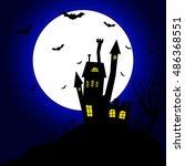 haunted house spooky... | Shutterstock .eps vector #486368551