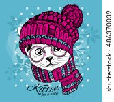 Stock vector vector white cat with glasses kitten in a hat and scarf hand drawn illustration of dressed cat 486370039