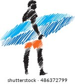 surfer man brush style... | Shutterstock .eps vector #486372799