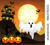 halloween background with... | Shutterstock .eps vector #486378331