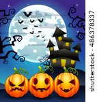 halloween background with... | Shutterstock .eps vector #486378337
