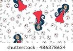 vector seamless halloween... | Shutterstock .eps vector #486378634